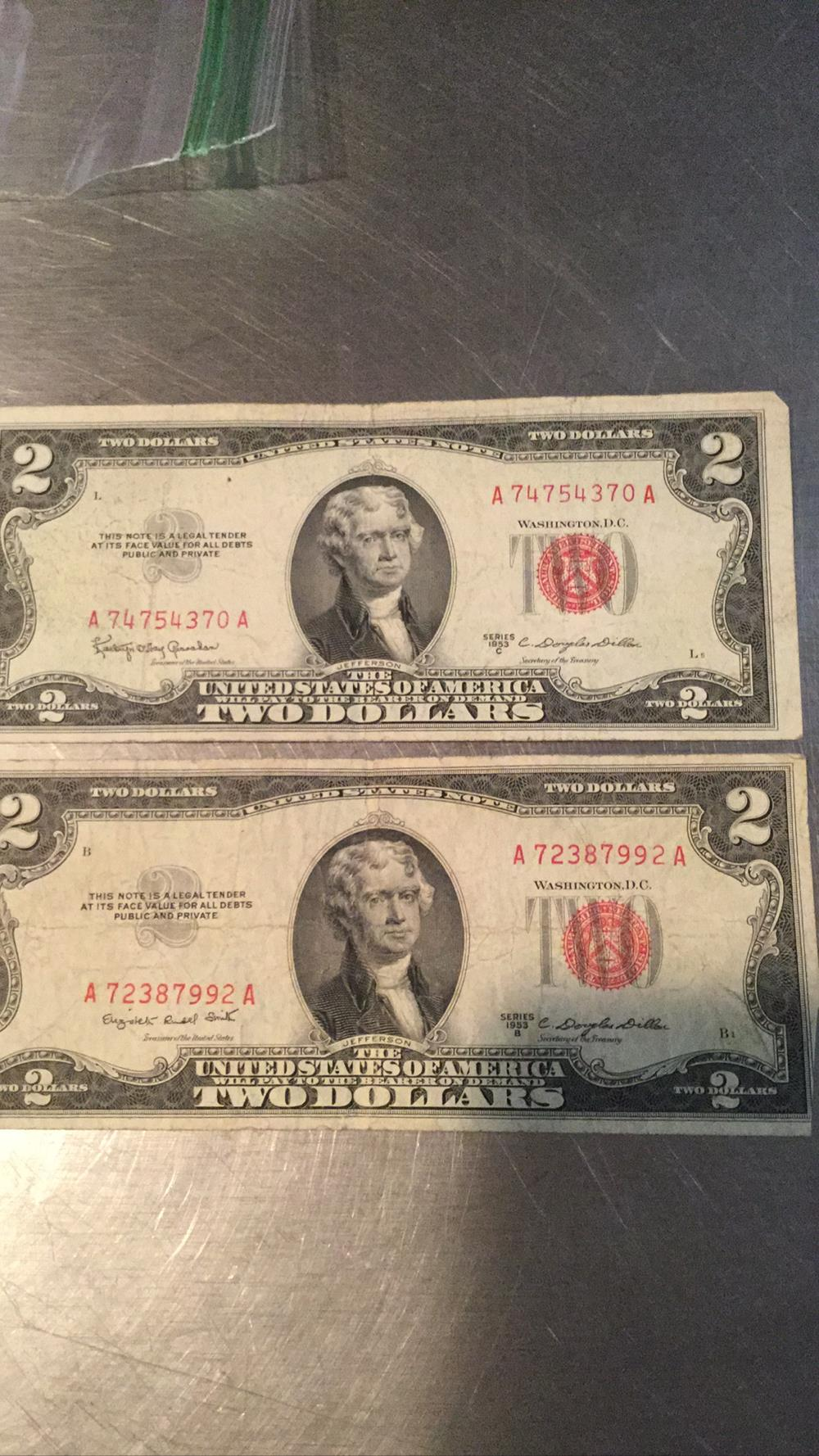 Two $2 dollar bills