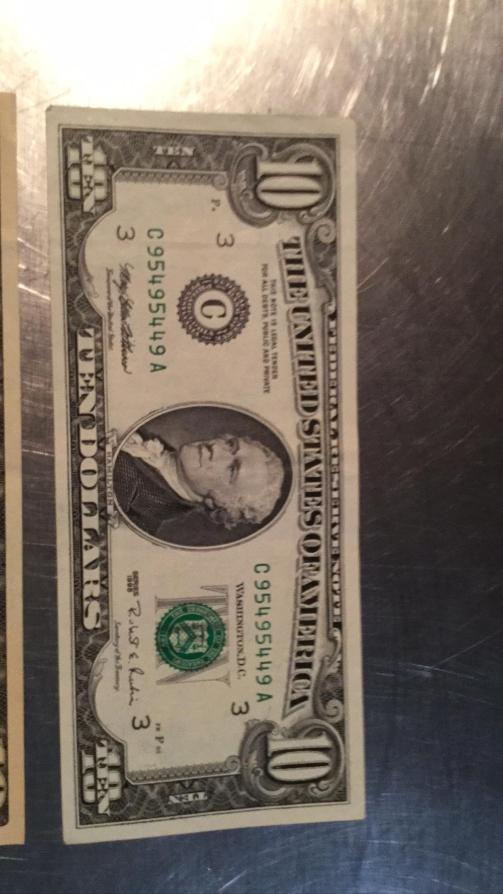 Lot 189: Four $10 bills