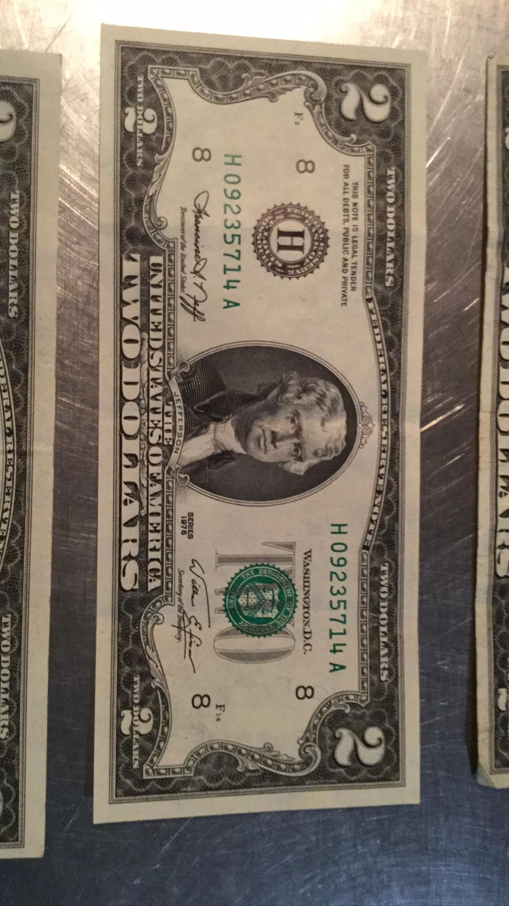 Lot 198: For two dollar bills