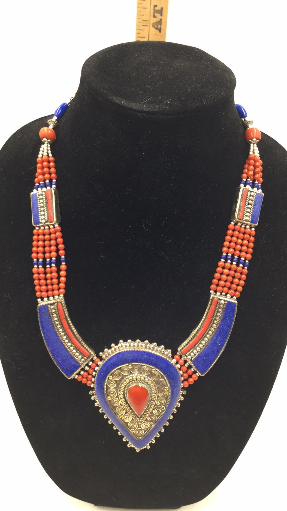 Lapis and coral choker
