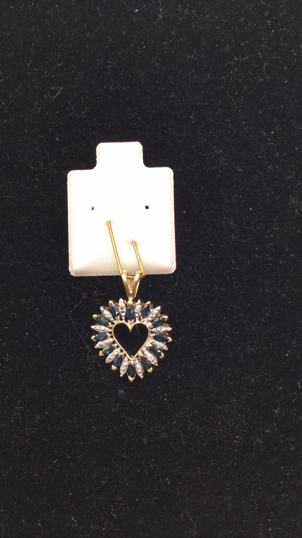 14k diamond and sapphire heart pendant