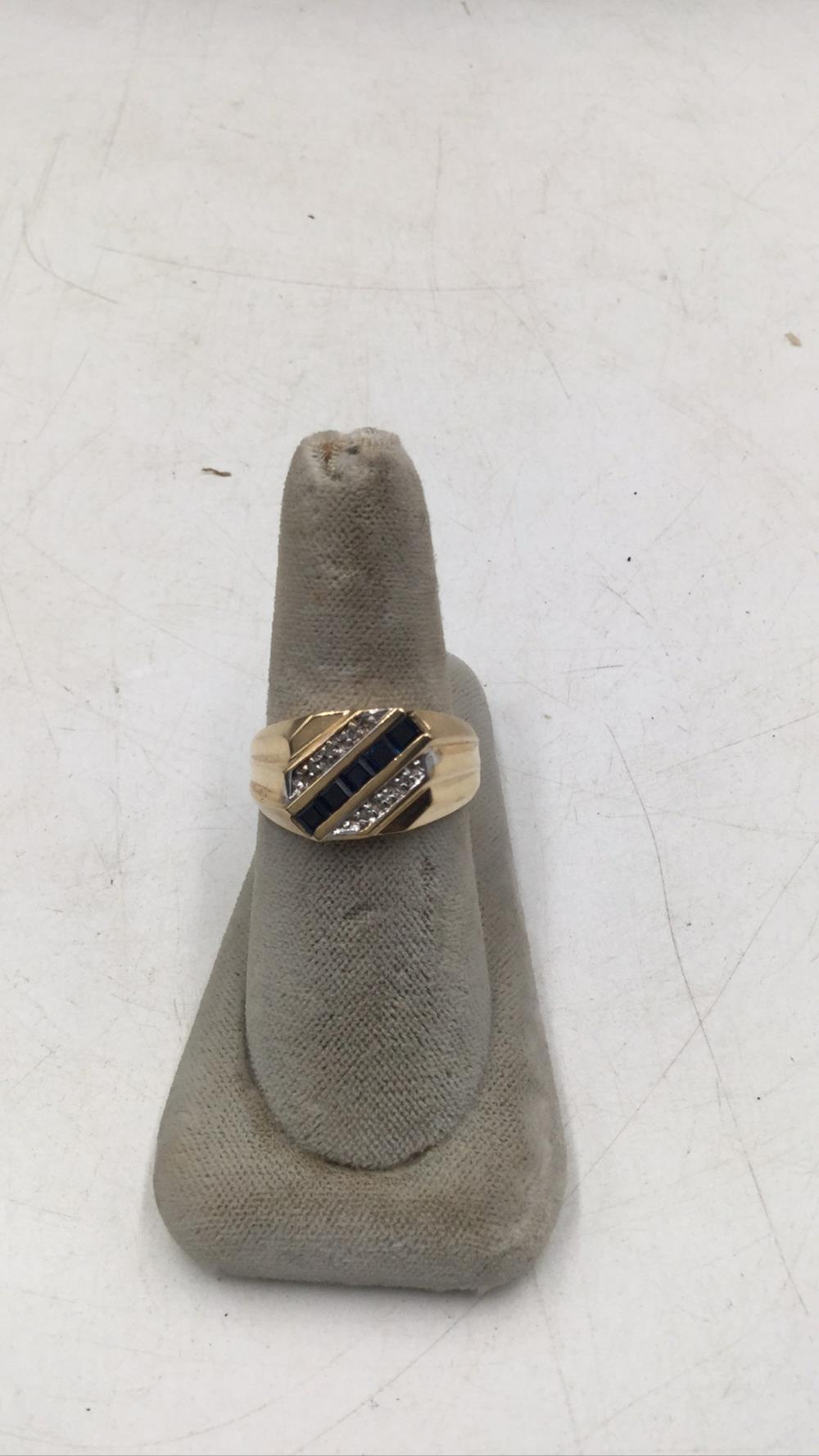 10k men's sapphire and diamond ring