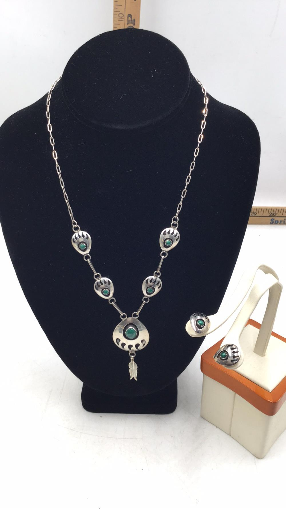 Malachite Shadowbox necklace and earrings