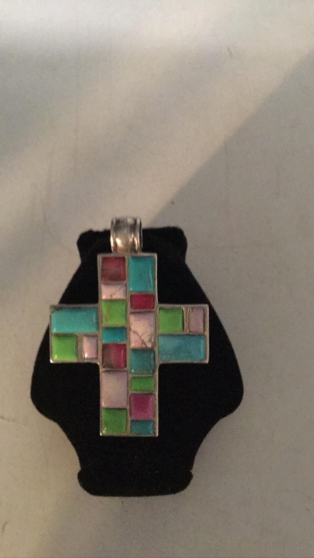 Native multi stone cross pendant