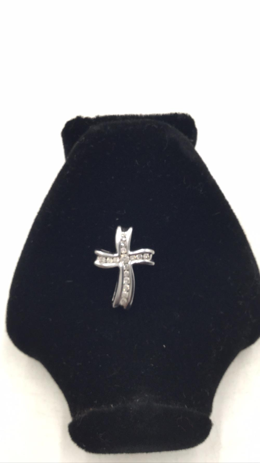 10k white gold diamond cross pendant