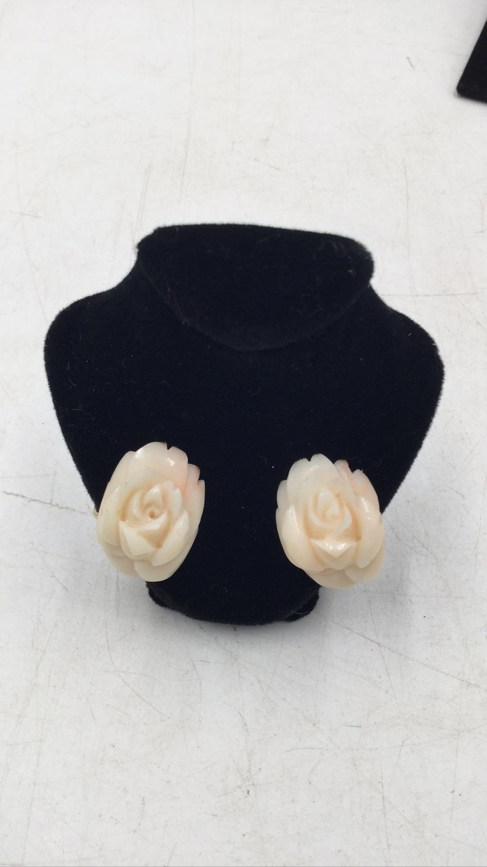 14k angel skin coral earrings