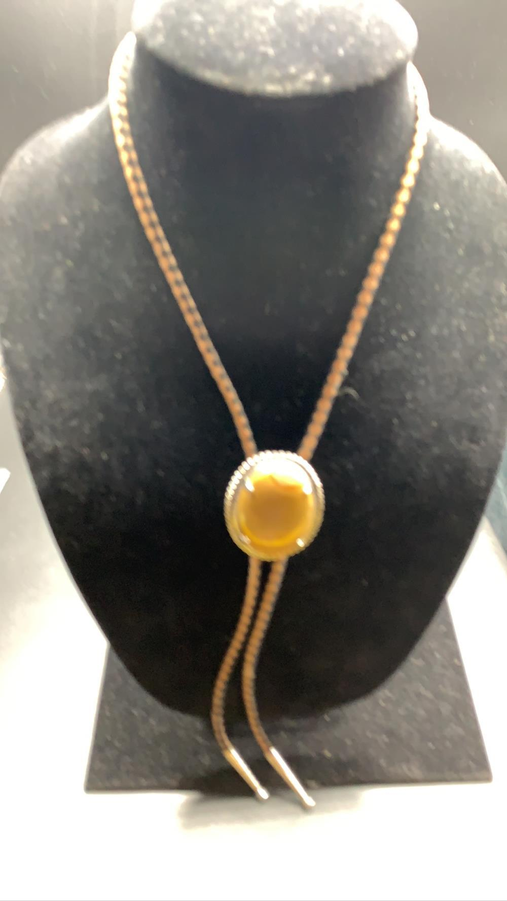 Bolo with an Agate and Sterling Silver