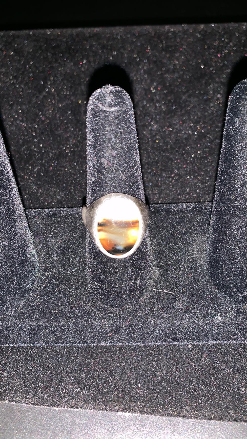 Men's Native Sterling Silver Picture Agate Ring