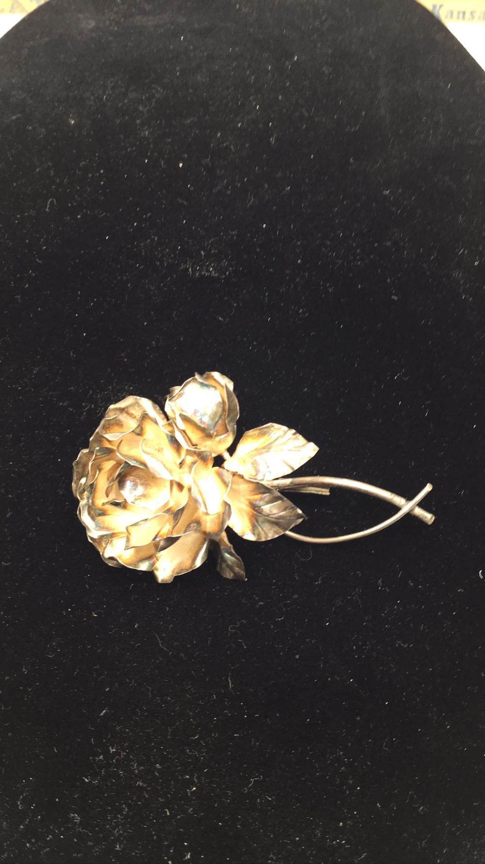 Silver 950 vintage rose pendant