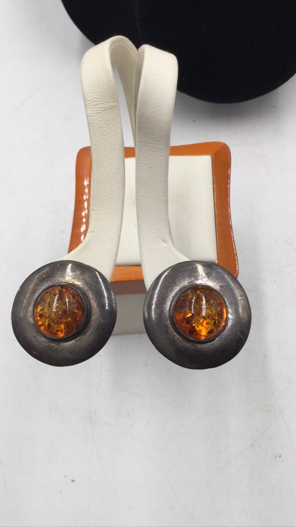 M. Begay Native Amber and Sterling earrings