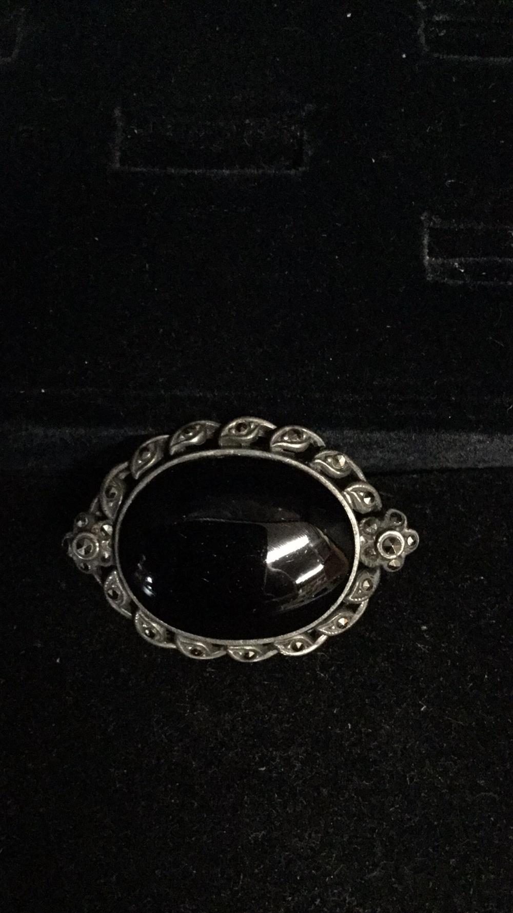 Black onyx silver marcasite brooch
