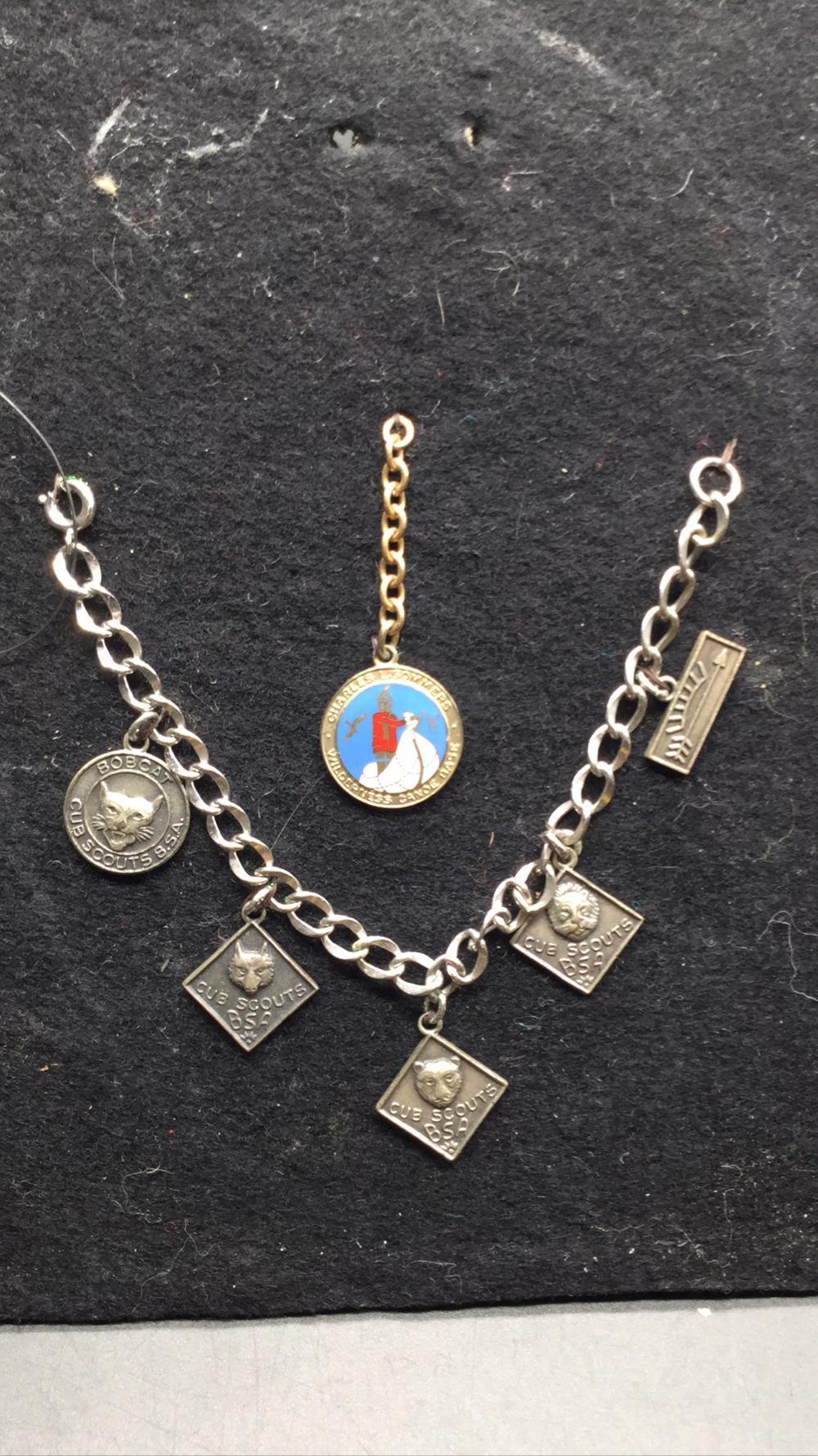 Sterling Cub Scout BSA charm bracelet