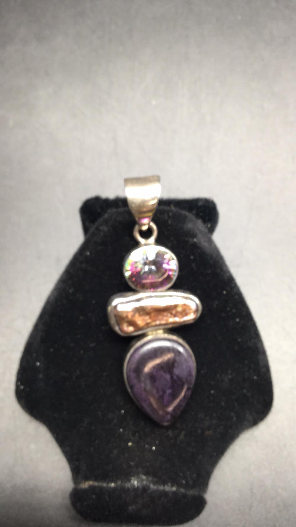 Mystic topaz abalone and amethyst pendant