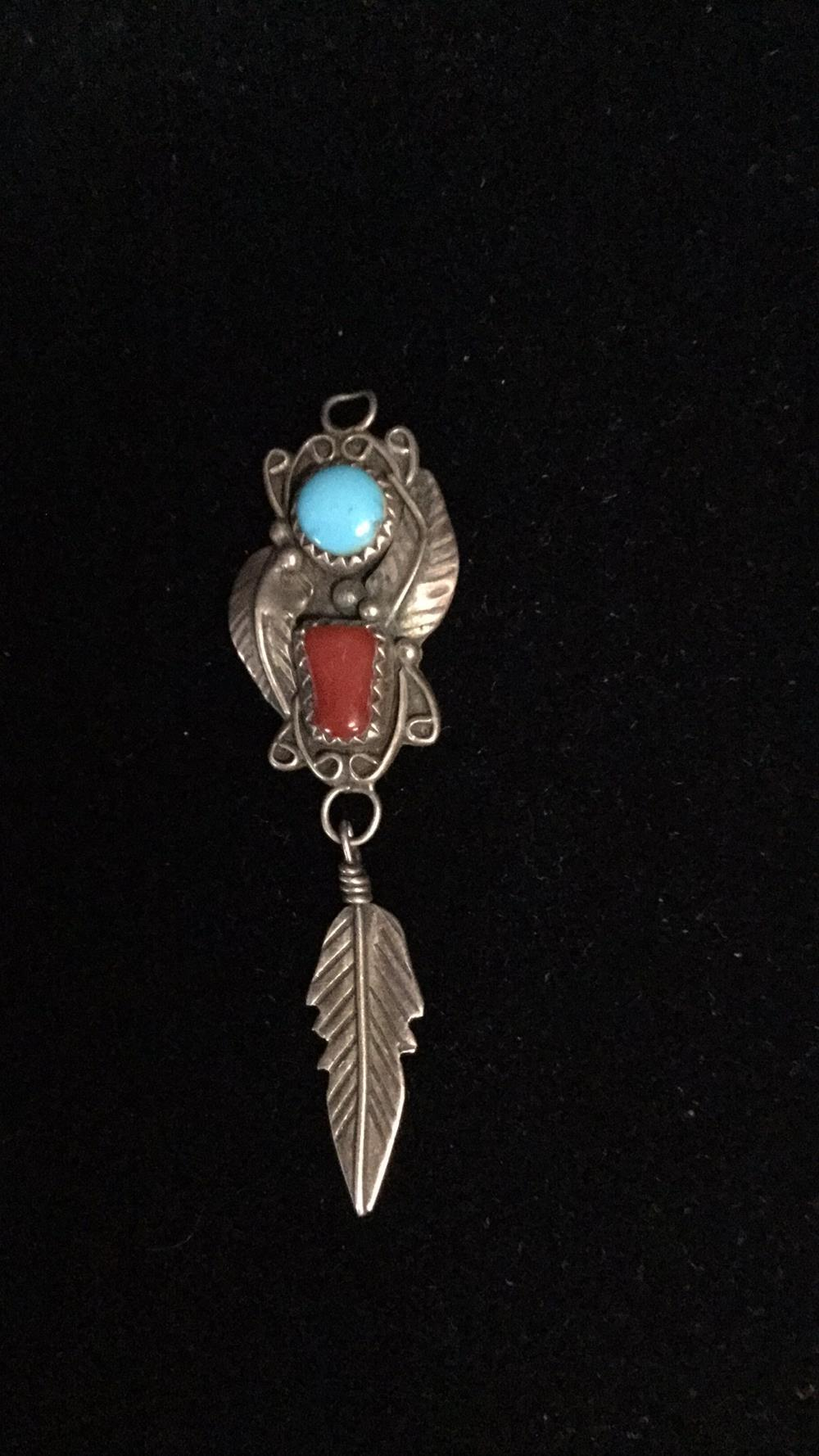 Native Turquoise and coral pendant