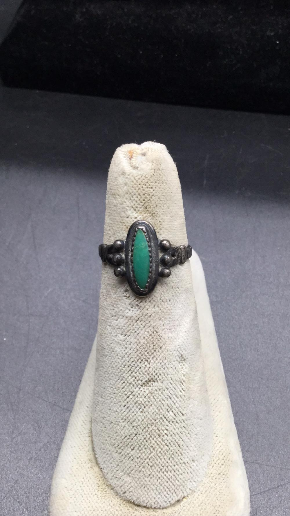Bell petit point turquoise ring