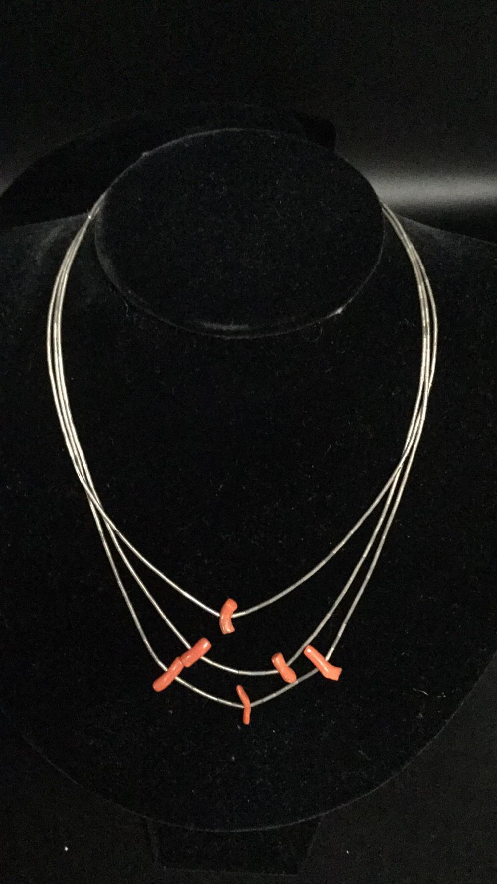 Native coral fetish necklace