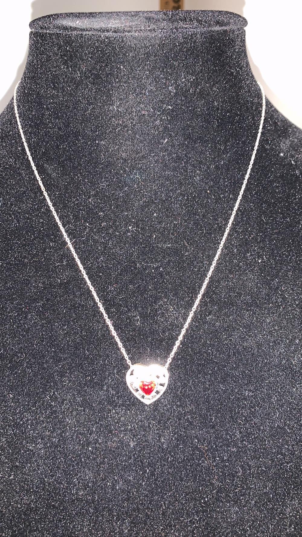 Garnet .925 Heart Necklace