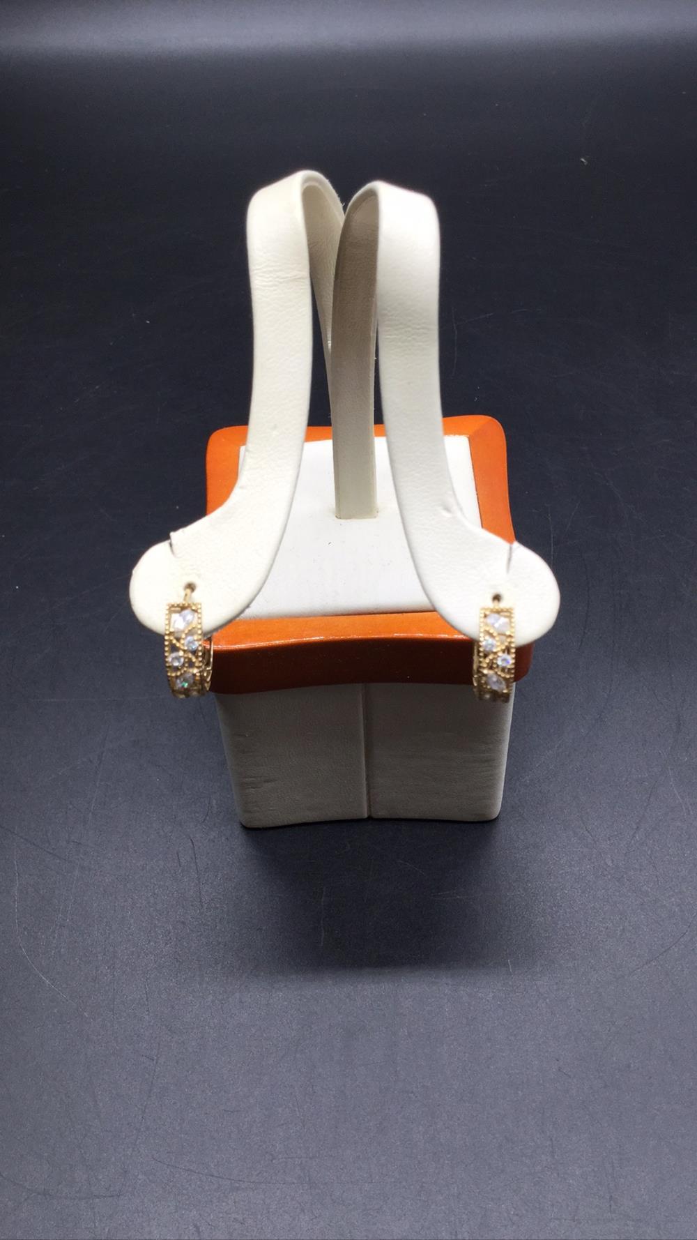 14k clear stone hoop earrings