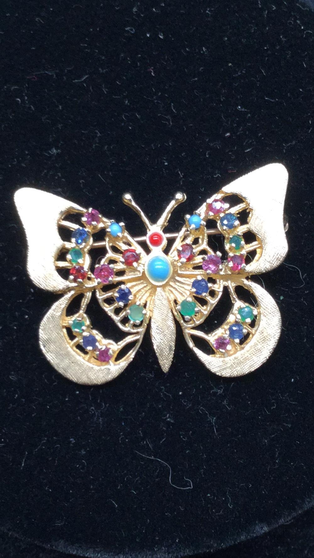 14k multi stone butterfly brooch
