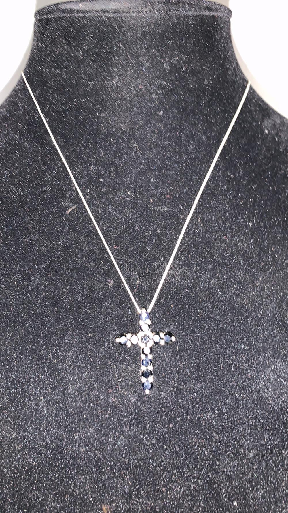Sapphire Sterling Cross Pendent & Sterling Chain