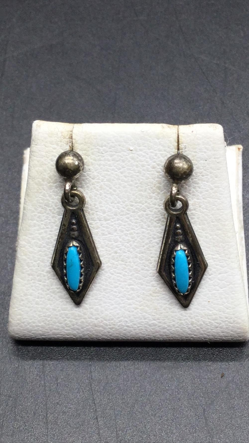 Turquoise petite point earrings