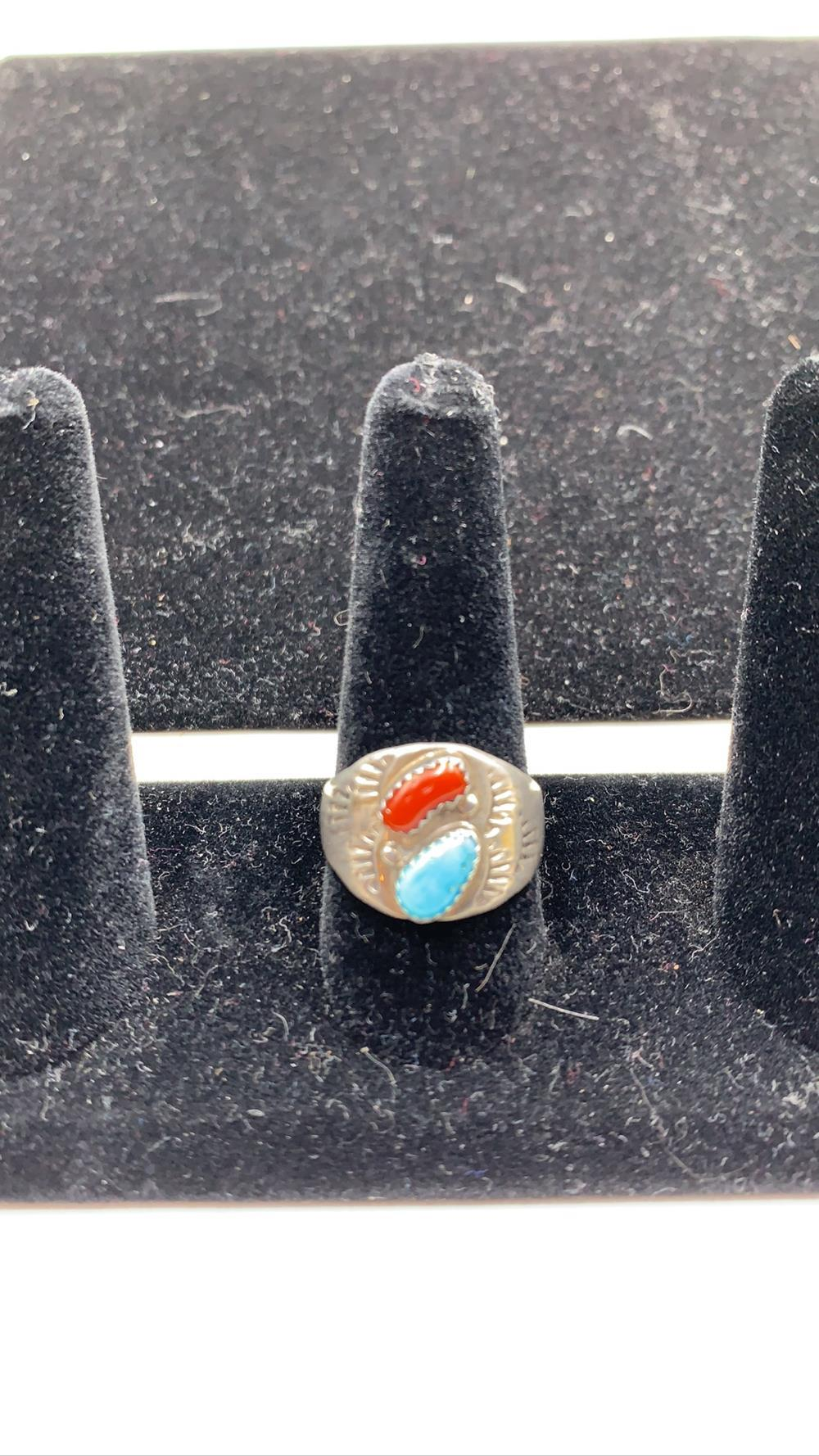 Men's Turquoise & Corral Sterling Silver Ring