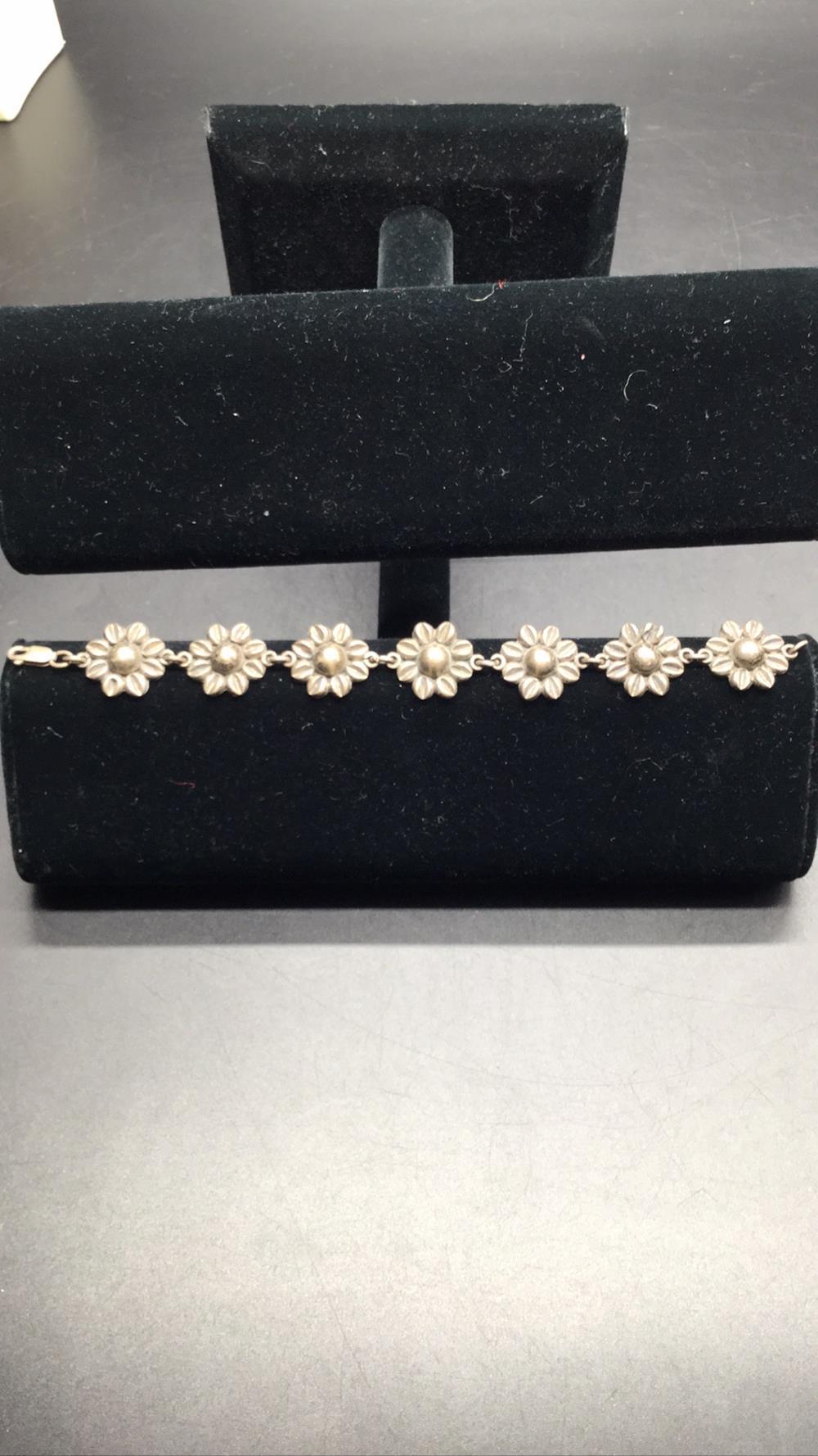 Sunflower silver bracelet
