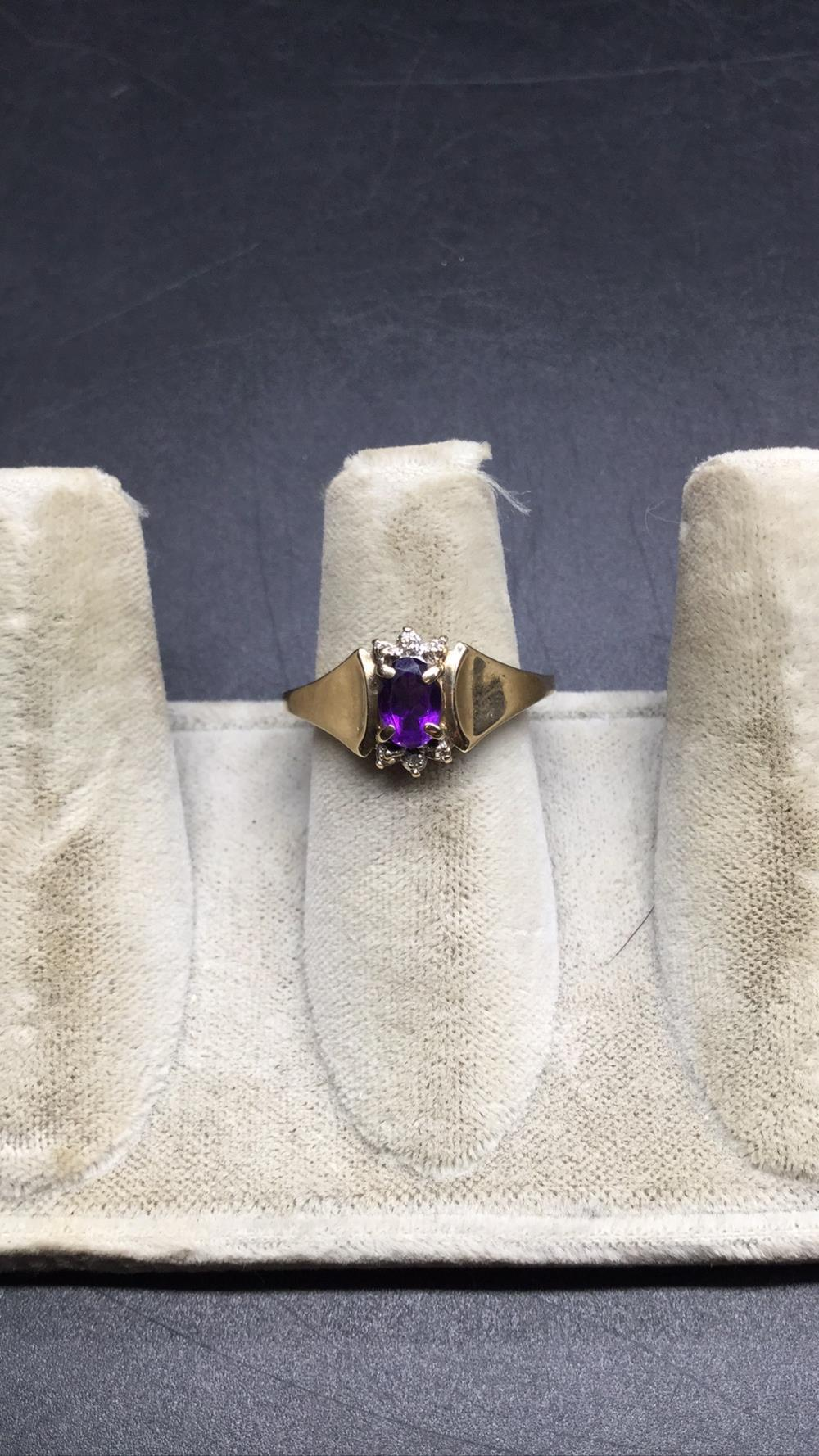10k diamond and amethyst ring