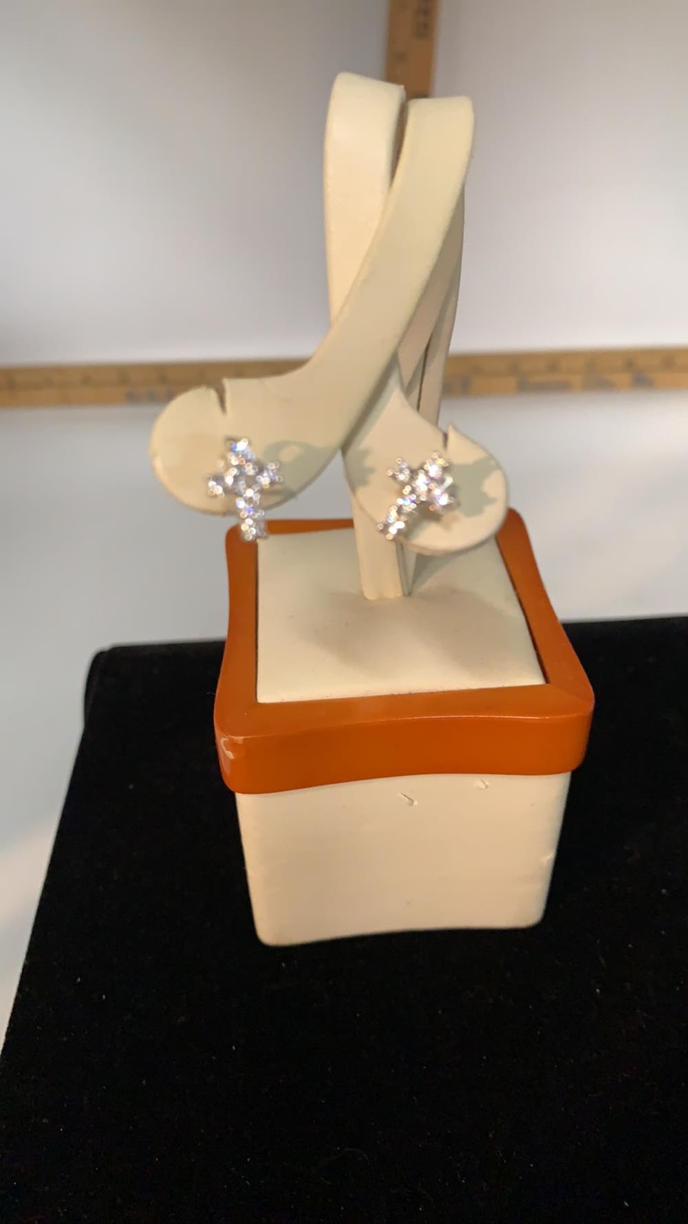 Diamond & .925 Silver Cross Earrings