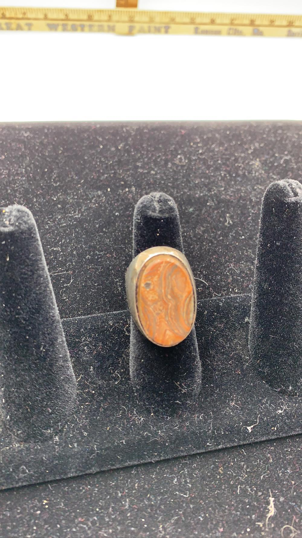 Men's Sterling Silver & Petrified Wood Ring