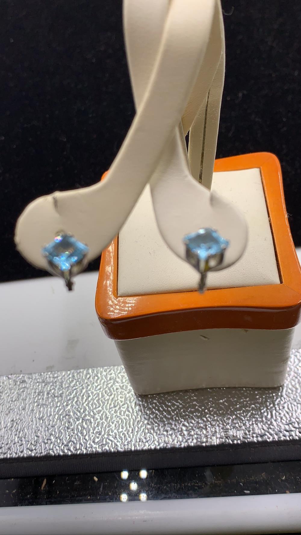 Vintage Aqua Marine & Sterling Silver Earrings