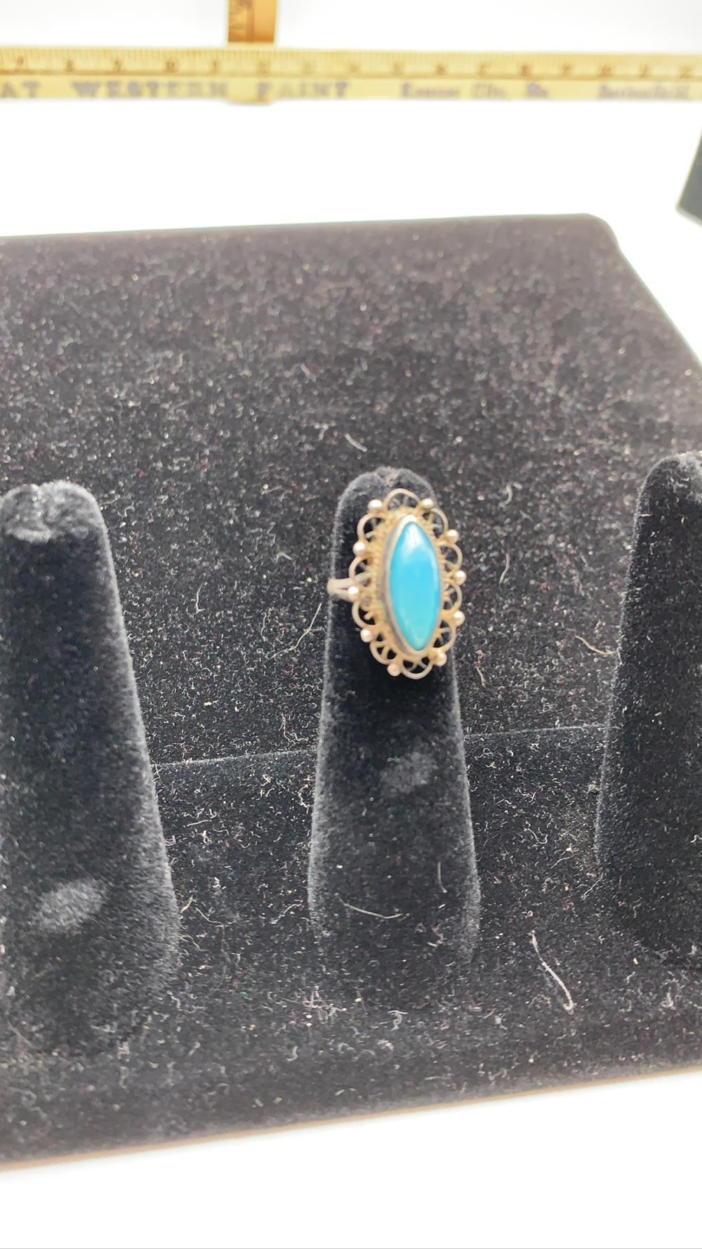 Antique Turquoise & Sterling Silver Ring
