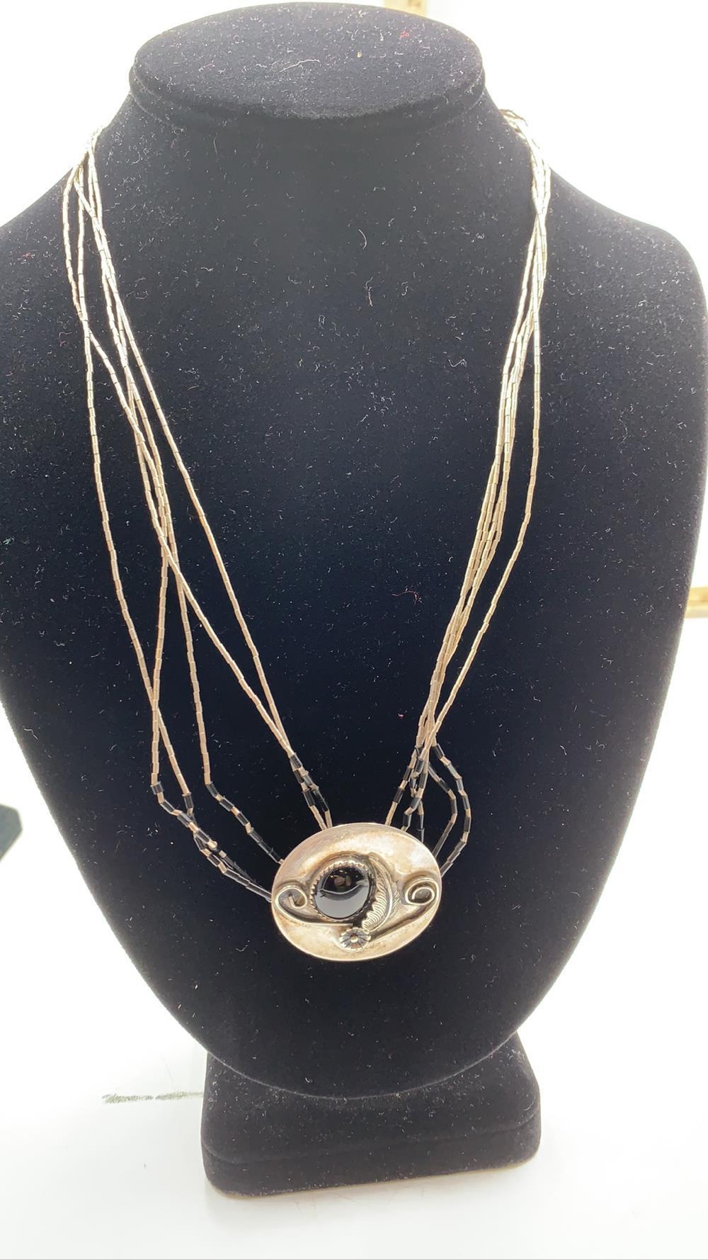Native American Black Onyx & Sterling Silver