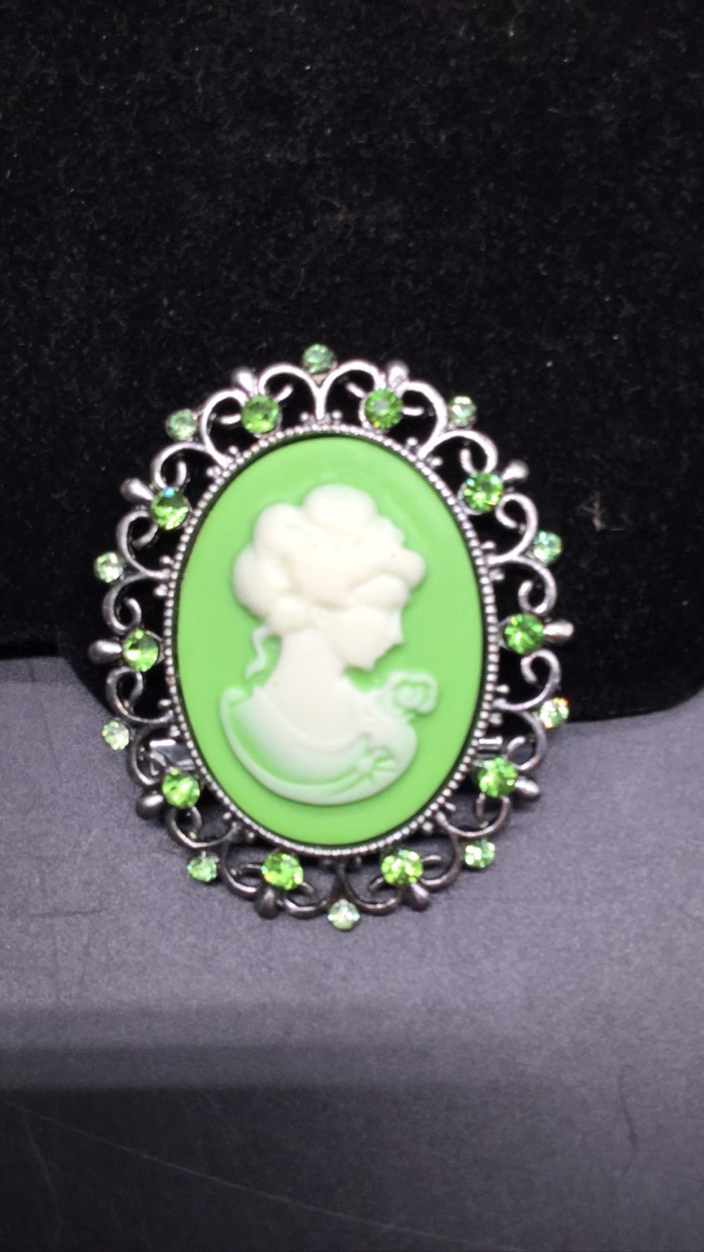 Vintage green cameo