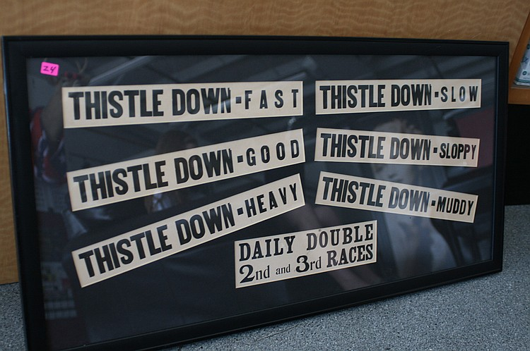 Lot 24: HORSE TRACK CONDITION SIGN