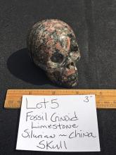 Lot 5: Crinoid, Rock, Fossil, Natural, Collectible, Carving, Skull
