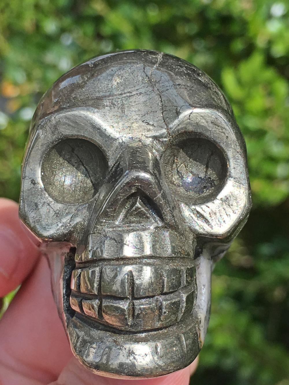 Pyrite, Rock, Crystal, Natural, Collectible, Carving, Skull