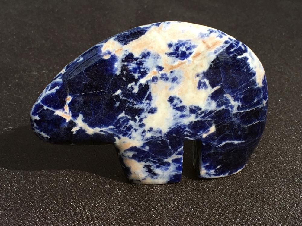 Sodalite, Rock, Crystal, Natural, Collectible, Carving, Bear