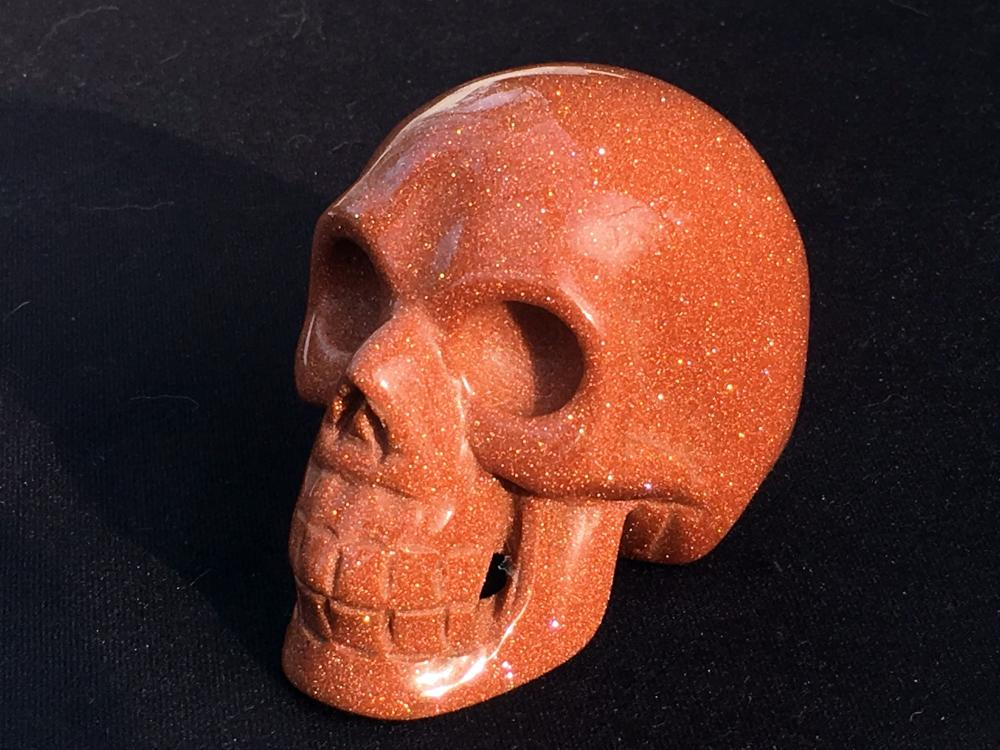 Lot 80: Goldstone, Glass, Crystal, Collectible, Carving, Skull