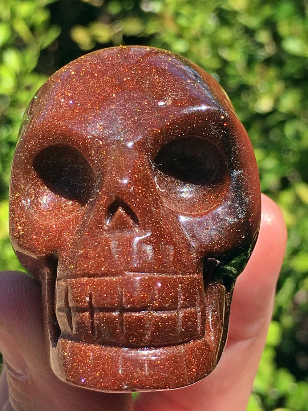Goldstone, Glass, Crystal, Collectible, Carving, Skull
