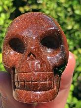 Lot 104: Goldstone, Glass, Crystal, Collectible, Carving, Skull