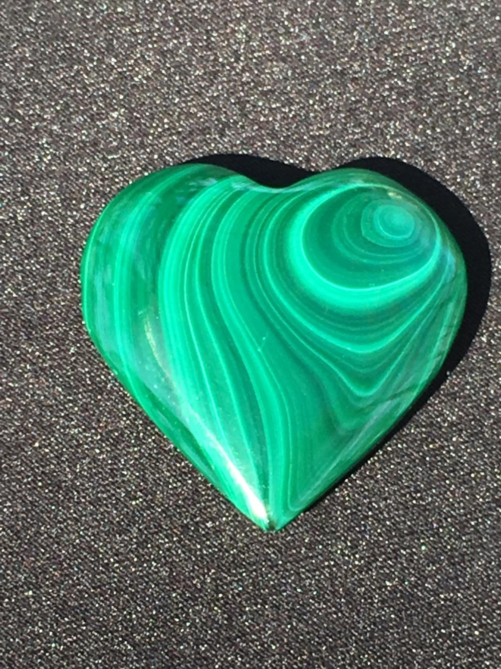 Malachite, Rock, Crystal, Natural, Collectible, Carving, Heart