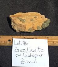 Lot 316: Brazilianite, Feldspar, Rock, Crystal, Natural, Collectible, Mineral, Specimen