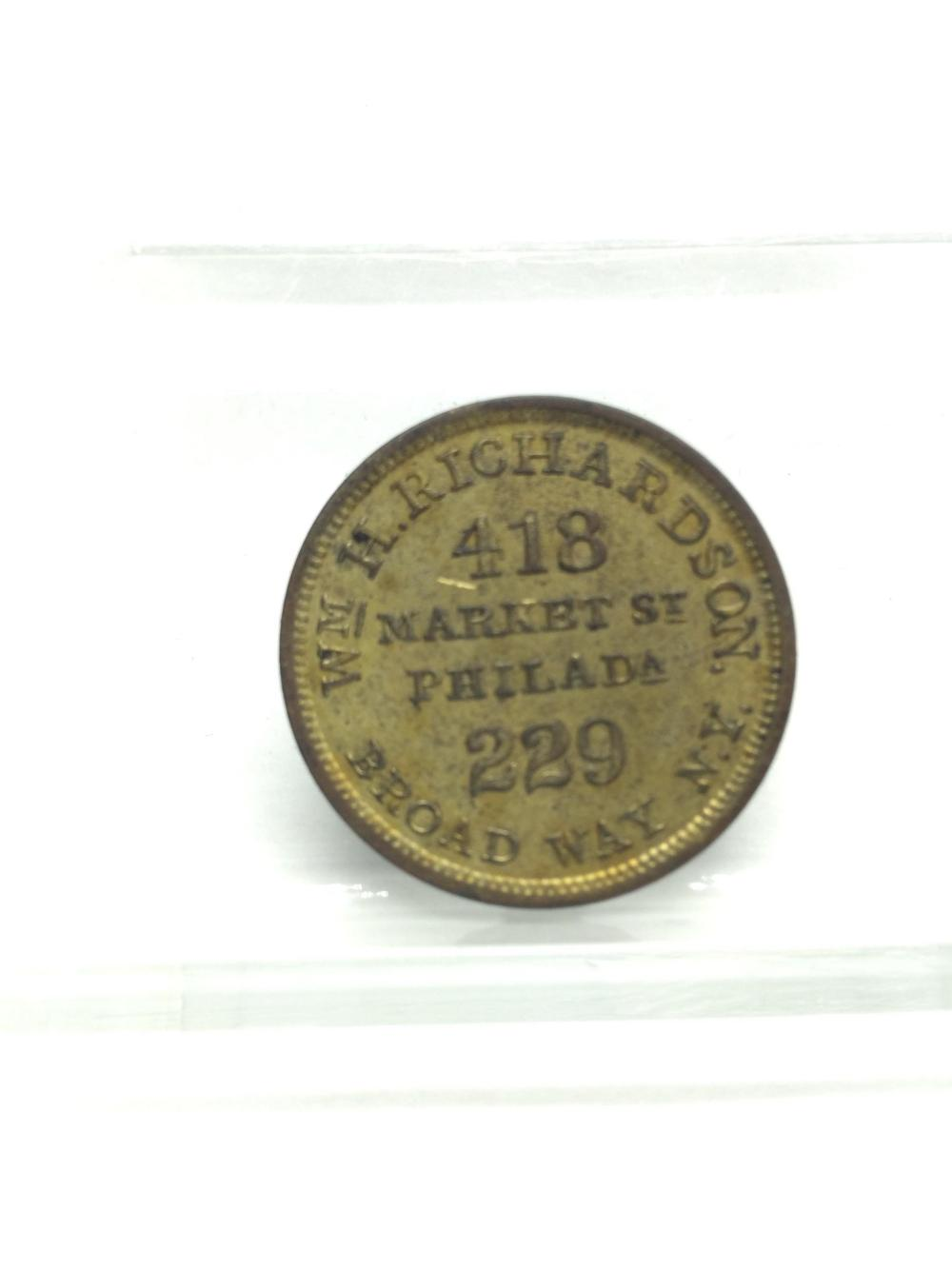 1858 Umbrella Vendor Coin