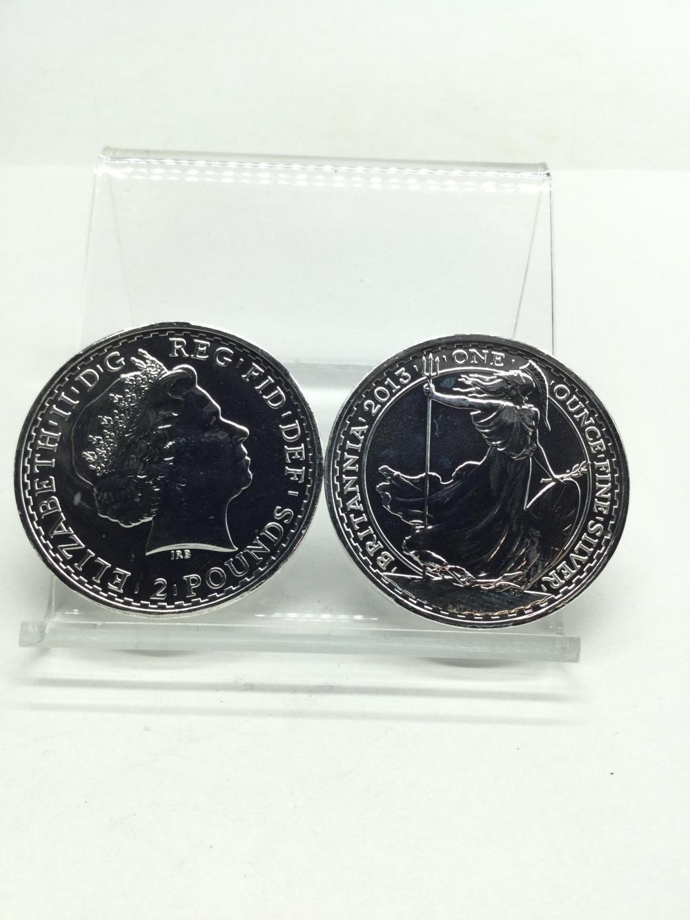 2 Britannia 1 Ounce Fine Silver Rounds