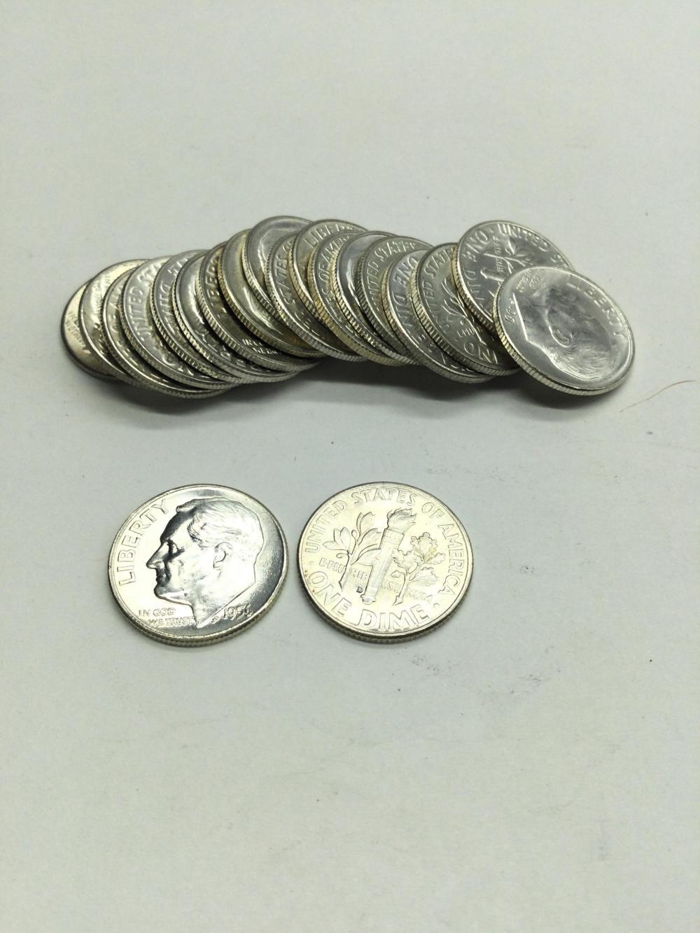 20 Silver Roosevelt Dimes