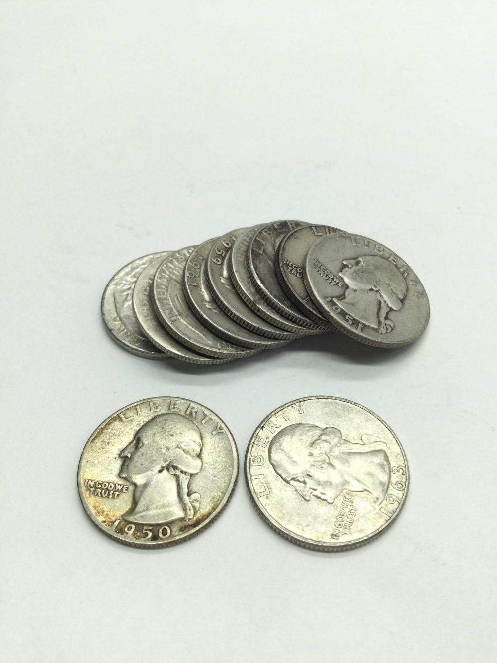10 Silver Washington Quarters
