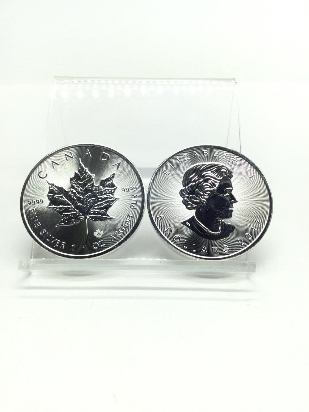 2-Canadian 1 Argent Ounce.999 Fine Silver Rounds