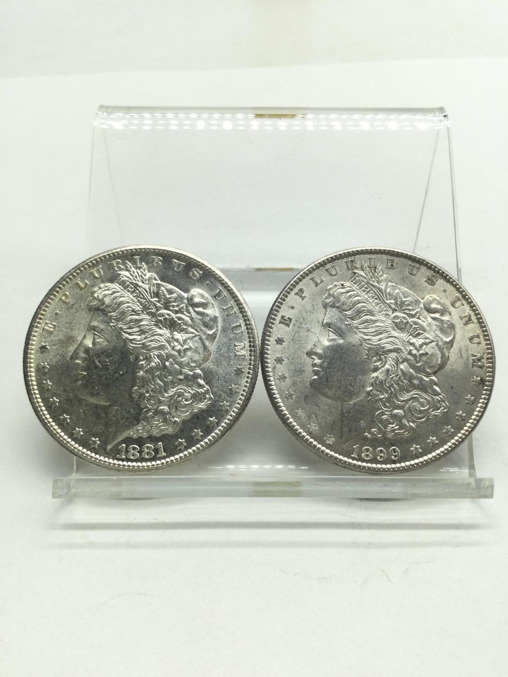 1881 & 1899 Morgan Silver Dollars