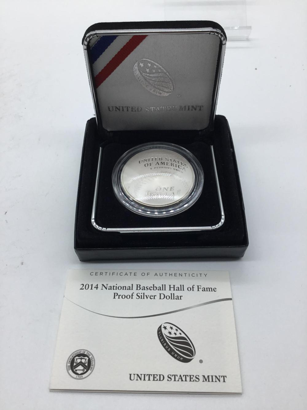Baseball Hall of Fame silver proof dollar